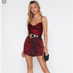 NWOT Nasty gal red and black leopard romper US 4